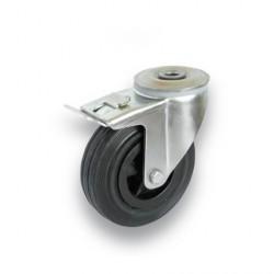 ND 160/QRD  Otočné kolo s černou obručí s otvorem a brzdou