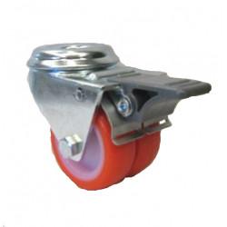 PU 2x50/QLDP Otočné dvojkolo s červenou polyuretanovou obručí s otvorem a brzdou
