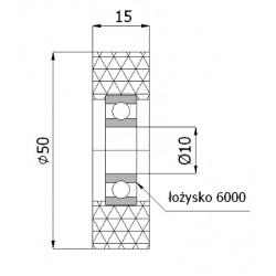 RP-50-10  Samostatné polyamidové kolo s polyuretanovou obručí