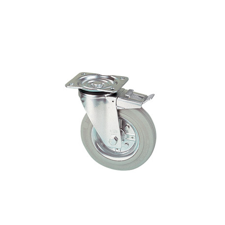 LGR 125/GRD Otočné kolo s šedou obručí a brzdou