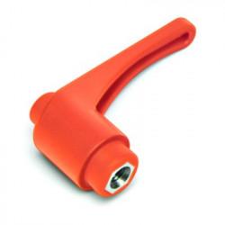 KLHM 65 M12 Přestavitelná plastová páčka s vnítřním závitem - matice,  oranžová