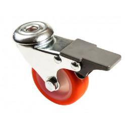 PU 50/QLDP-10 Bržděné kolo s červenou polyuretanovou obručí s otvorem