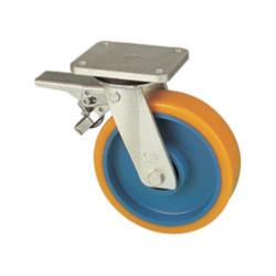 RWK 100/GVN   Otočné kolo se žlutou polyuretanovou obručí s brzdou