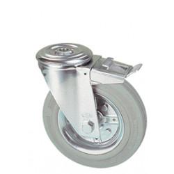 LWR 160/QRD  Otočné kolo s šedou antistatickou obručí s otvorem a brzdou -16