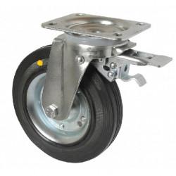 LAR 160/GRD   Otočné kolo s černou gumovou obručí a opačnou brzdou