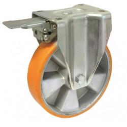 ZPK 125C/FTD  Pevné bržděné  kolo se žlutou polyuretanovou obručí