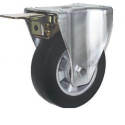 ZVK 125/FMD  Pevné bržděné kolo s černou gumovou obručí