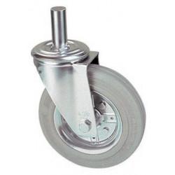 LGR 100A/HR  Otočné kolo s šedou gumovou obručí s čepem