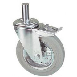 LGR 100A/HRD Otočné kolo  s šedou gumovou obručí s čepem a brzdou