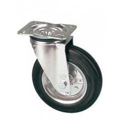 LNB 160/GR  Otočné kolo s černou gumovou  obručí