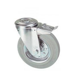 LGB 125/QRD  Otočné kolo s šedou obručí s otvorem a brzdou