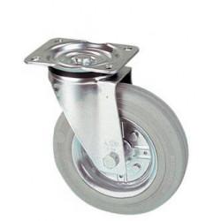 LGK 160/GR  Otočné kolo s šedou gumovou  obručí