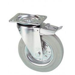 LGK 160/GRD Otočné kolo s šedou obručí a brzdou