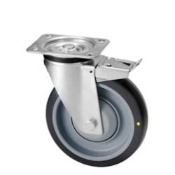 DHK 080/GXD   Otočné kolo s šedou antistatickou  obručí s brzdou v nerezové vidlici