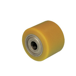 Samostatné kolo se žlutou polyuretanovou obručí  TWK 080Dx100x25