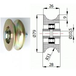 TR-79  1/2 Ocelová kladka na trubku