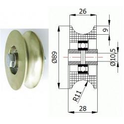 TR-89  1/2 pr. 22mm Ocelová kladka profil na trubku