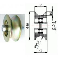 TR-89  3/4 pr.29mm Ocelová kladka profil na trubku