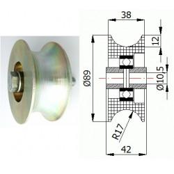 """TR-89  1"""" pr.34mm  Ocelová kladka profil  na trubku"""