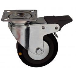 EMAE 075/GLDP   Otočné kolo s černou gumovou antistatickou obručí a brzdou