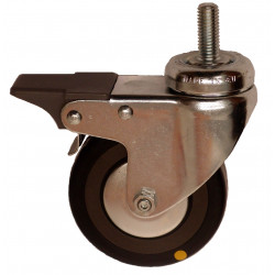 EMAE 075/VLDP Otočné kolo s černou gumovou antistatickou obručí se šroubem a brzdou