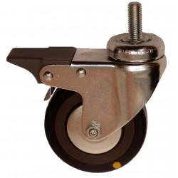 EMAE 050/VLDP  Otočné kolo s černou gumovou antistatickou obručí se šroubem a brzdou