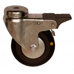 EMAE 075/QLDP  Otočné kolo s černou gumovou antistatickou obručí s otvorem a brzdou