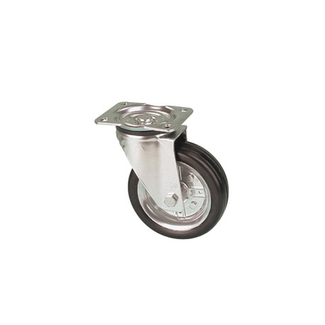 LNR 100A/GR otočné kolo s černou gumovou obručí bez brzdy