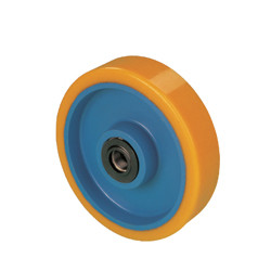 RWK 250x50x25   Samostatné kolo se žlutou polyuretanovou obručí
