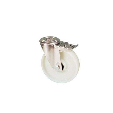 NNE 125B/QRD Otočné polyamidové kolo s otvorem a brzdou