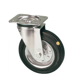 LAR 125/GR   Otočné kolo s černou antistatickou gumovou obručí