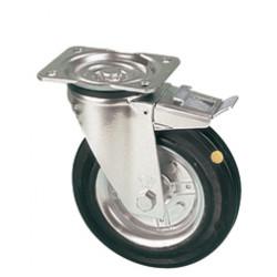 LAR 160/GRD   Otočné kolo s černou gumovou obručí a brzdou