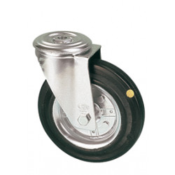 LAR 080/QR   Otočné kolo s černou antistatickou gumovou obručí s otvorem