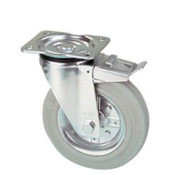 LWR 125/GRD  Otočné kolo s šedou antistatickou obručí a brzdou
