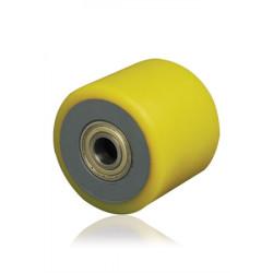 Samostatné kolo se žlutou polyuretanovou obručí  TWK 70x60x17